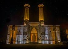 Twin Minarets Madrasa Monument and Museum of Seljuk architecture in Erzurum, Turkey. Night View of Twin Minarets Madrasa Monument and Museum of Seljuk Royalty Free Stock Photos
