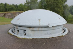 Twin 75mm gun turret WW1 Fort Froideterre, France. Steel armoured twin 75mm gun turret on top of French First World War Fort Froideterre near Verdun stock photos