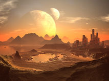 Twin Moons over Desert City with Pyramids. The city of New Cairo glows with an intense red light reflecting back the atmosphere that surrounds the Planet Aragon Royalty Free Stock Image