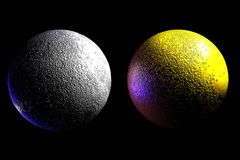 Twin moons (plain/gold) stock illustration