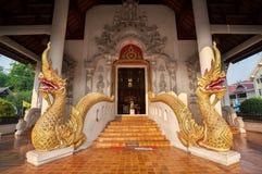 Twin naga serpents at the entrance to Wat Chedi Luang, Chiang Mai, Thailand Stock Photos