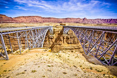 The Twin Navajo Bridges Crossing the Colorado River Stock Photography
