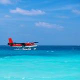Twin otter seaplane at Maldives royalty free stock photos