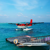 Twin otter seaplane at Maldives Royalty Free Stock Photography