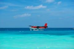 Twin otter seaplane at Maldives royalty free stock image