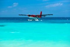 Twin otter seaplane at Maldives stock photography