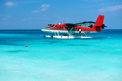 Twin otter seaplane at Maldives Stock Photo