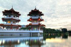 Twin Pagoda by the Lake Stock Images