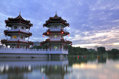 Twin Pagoda Sunset Royalty Free Stock Photos