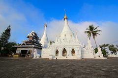 The Twin pagoda at Wat Phra That Doi Kong Mu. Is the oldest landmark in Mae Hong Son,Thailand Royalty Free Stock Photo