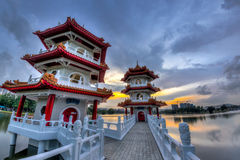 Twin Pagodas at Chinese Gardens, Singapore Stock Image
