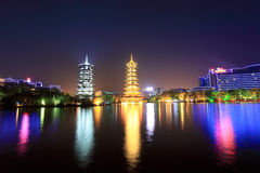 Twin pagodas in guilin at night Stock Images
