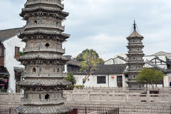 Twin pagodas in Nanxiang ancient town, Shanghai, China Royalty Free Stock Photo