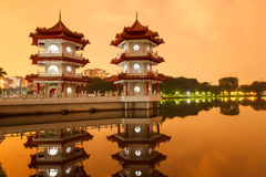 Twin Pagodas reflecting in pond Royalty Free Stock Photos