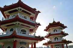 Twin pagodas at Singapore Chinese Gardens Stock Images