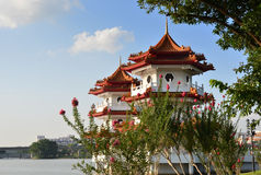 Twin pagodas at Singapore Chinese Gardens Stock Photos