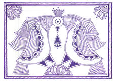 Twin Peacocks. Madhubani art style depicting twin peacocks in purple ink and white background Royalty Free Stock Photos