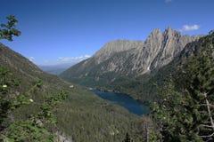 Twin peaks  Els Encantats  and Sant Maurici lake Royalty Free Stock Photos