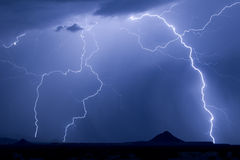 Twin Peaks Lightning Royalty Free Stock Images