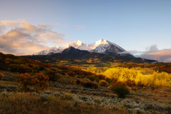 Twin peaks mountain, Mount Sopris and Elk. Sunrise at Twin mountain View of Mount Sopris and Mount Elk with Fall color and morning mist, Snowmass Maroon Bells Stock Photography