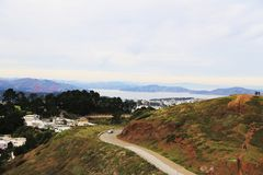 Twin Peaks in San Francisco, CA. View of San Francisco with Golden gate in background from Twin Peaks Stock Photo