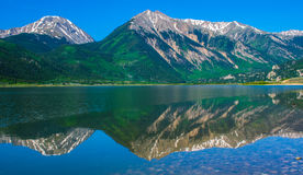 Twin Peaks and Twin Lakes Colorado with Relfections Royalty Free Stock Images