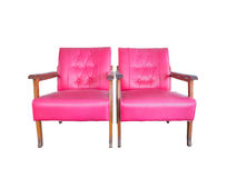 Twin pink old sofa chair. Isolated on white background Stock Images