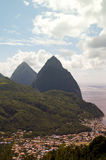 Twin pitons Soufriere St. Lucia Caribbean Sea Stock Images