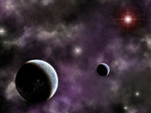 Twin planets with nebula Stock Photo