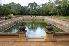 Twin Ponds, Ancient Monastery Bathing Tanks, Sri Lanka Royalty Free Stock Photography