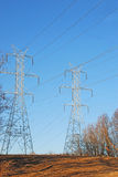 Twin Power Line Towers with Deer Royalty Free Stock Images