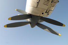 Twin propellers. Close up of a twin prop fighter plane engine stock images