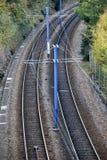 Twin railroad tracks Stock Photos