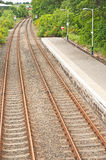 Twin railway tracks Stock Photography
