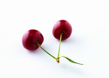 Twin red cherries Royalty Free Stock Photography