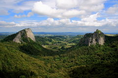 Twin rocks. Beautifull view of the Auvergne volcanic mountains region Stock Photography