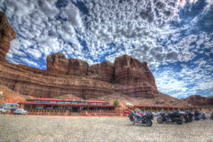 Twin Rocks Moab. A wonderful view of the Twin rocks cafe in MOab, UTAH USA Royalty Free Stock Photos