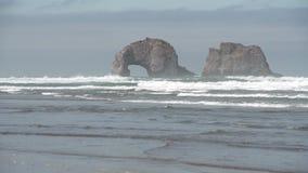 Rockaway Beach, Oregon. United States. 4K UHD. Twin Rocks off shore at Rockaway Beach, Oregon. United States. 4K UHD stock footage
