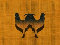Twin roosters. Abstract colored canvas with textured rooster shapes Royalty Free Stock Photos