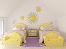 Twin's nursery. Interior of nursery for two children. 3d render Royalty Free Stock Photos