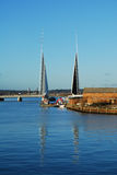 Twin Sails Bridge, Poole. New Twin Sails Bridge fully open, viewed from old lifting bridge Stock Photo