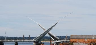 Twin Sails Bridge, Poole. New Twin Sails Bridge opening, viewed from old lifting bridge Stock Photos