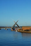 Twin Sails Bridge, Poole. New Twin Sails Bridge opening, viewed from old lifting bridge Royalty Free Stock Photography