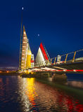 Twin Sails lifting bridge and reflections, Poole Harbour in Dors Royalty Free Stock Photos