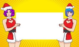 Twin santa woman showing with empty space banner stock illustration