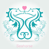 Twin seahorse with sponge, monochromatic. Vector illustration royalty free illustration