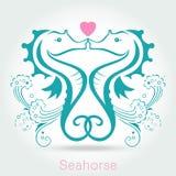 Twin seahorse with sponge, monochromatic. Vector illustration Stock Photo