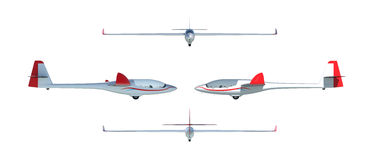 Twin seater glider render set Royalty Free Stock Photo