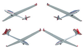 Twin seater glider render set Stock Photo