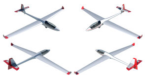 Twin seater glider render set Royalty Free Stock Image